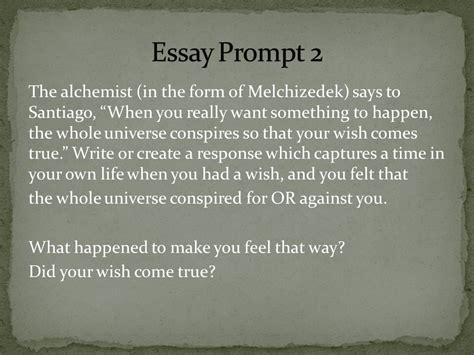 The Alchemist Essay by The Alchemist Essay Questions