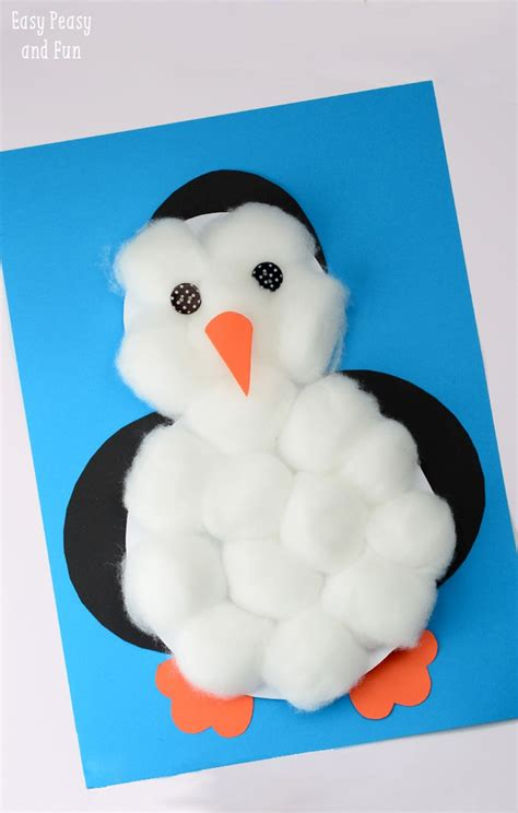 cotton craft for cotton balls penguin craft easy peasy and