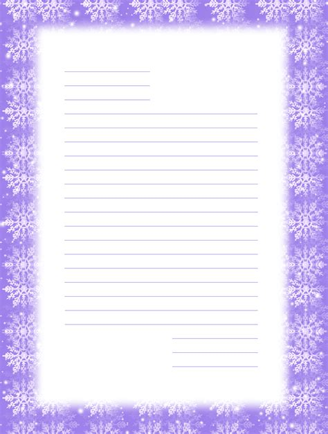 stationery templates free printable snowflake stationery