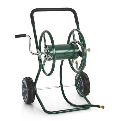 Garden Hose Reel Cart ikayaa garden hose reel cart steel frame 10 quot 2 wheel hose cart crank handle q7j0 ebay