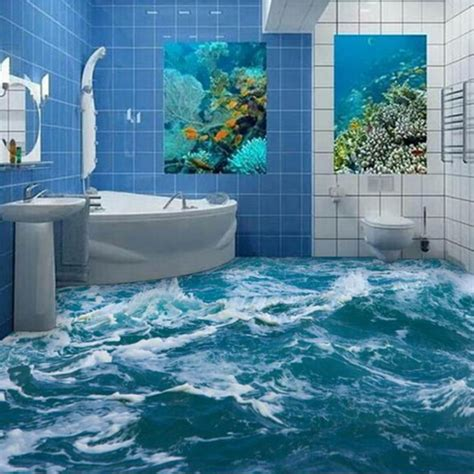 ocean bathroom custom 3d floor mural wallpaper sea water wave bathroom 3d