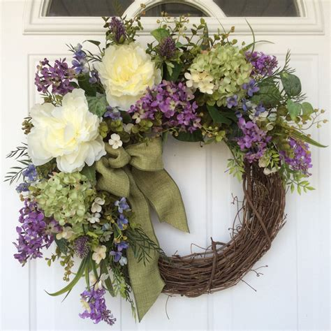 spring wreath hydrangea wreath spring door wreath wedding