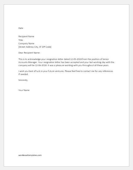 resignation acceptance letters samples word excel