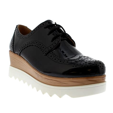 womens oxford shoes uk womens wedge heel brogue cleated sole chic fashion pumps