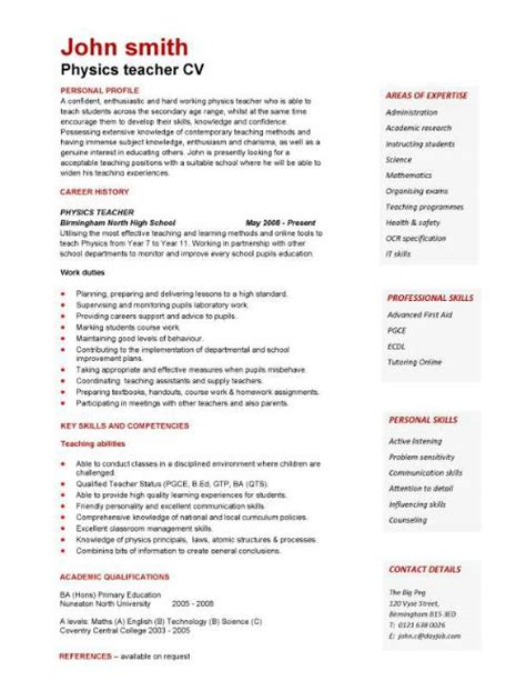 Teaching Cv Template cv template exles writing a cv curriculum vitae