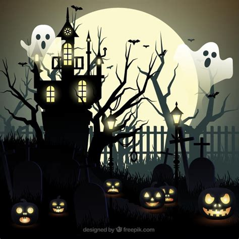ghost background background with ghosts and haunted house vector
