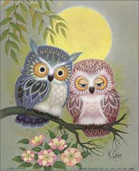 owl lovers owls in love mini art print size 4x5 7690