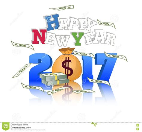 change money for new year happy new year 2017 with dollar money stock vector image