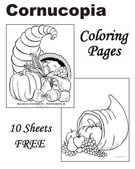cornucopia coloring pages preschool thanksgiving cornucopia coloring pages