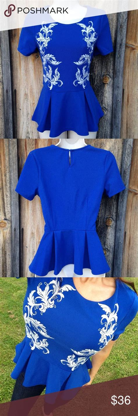Baju Blouse Blus Royal Satin nwt royal blue embroidered peplum top blouse sz s nwt royal blue blouse satin and