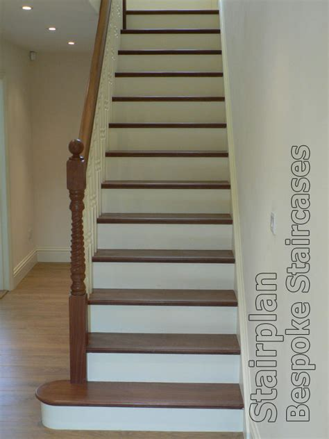 Wooden Handrail Bespoke Cut String Staircase White With Hardwood Treads