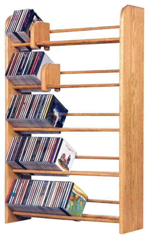 Cd Rack Shopping by Solid Oak 5 Row Dowel Cd Rack Modern Media Racks And