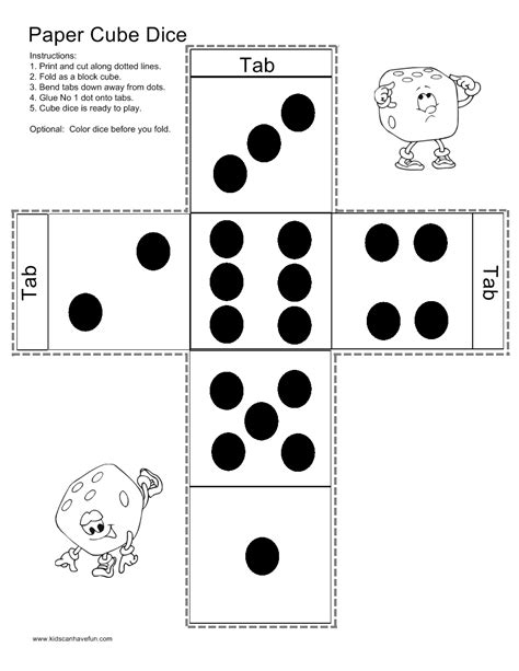 printable math games with dice make a paper cube dice http www kidscanhavefun com paper