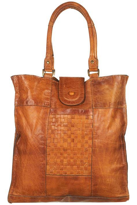 Check Your Luggage With Topshops Laminated Holdall The Bag by Topshop Leather Woven Panel Tote Bag In Brown Lyst