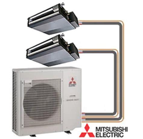 mitsubishi mr slim 2 zone ducted heat with 9k 12k