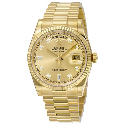 rolex day date chagne 18k yellow gold president