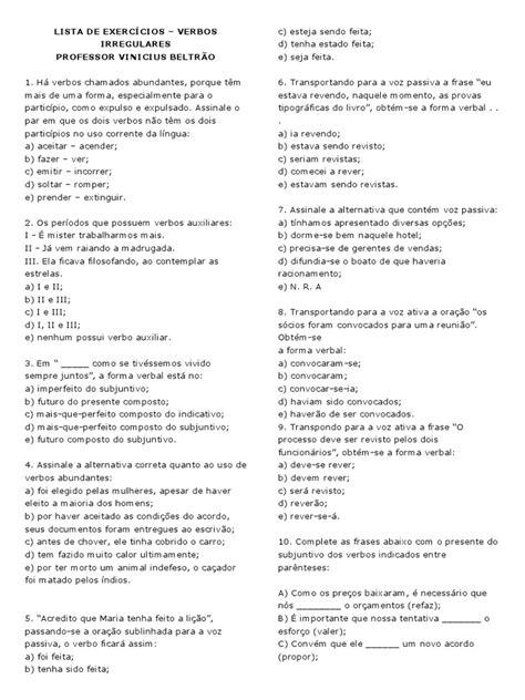 LISTA DE EXERCÍCIOS - verbos irregulares - testes