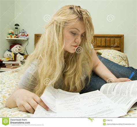 studying in bed young woman studying in bed stock photography image 5789772