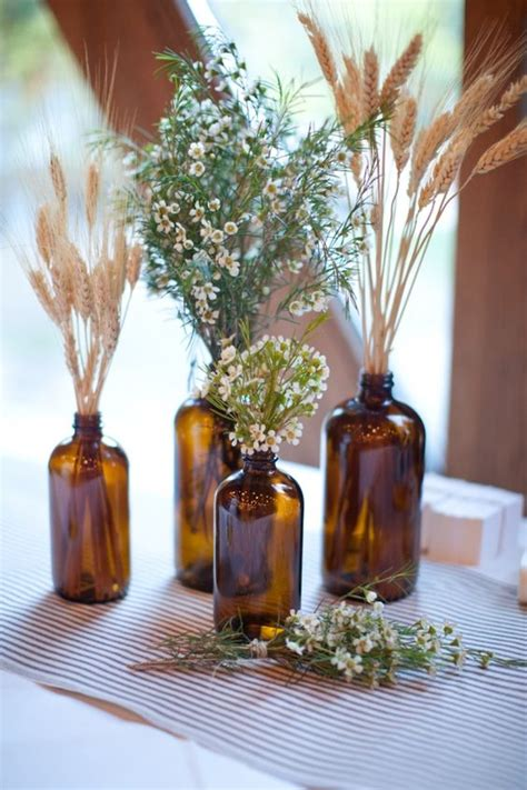brown glass or bottle centerpieces ideas for rustic - Brown Decorations