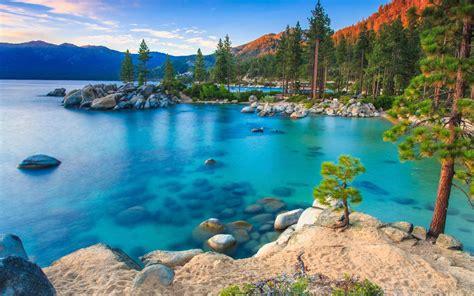 lake tahoe rv parks california usa blue water rocks pine trees clear sky summer hd wallpaper