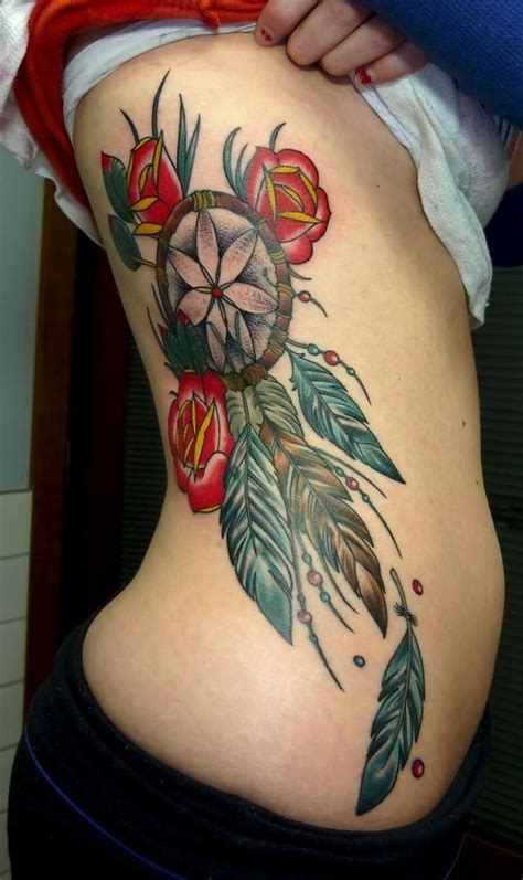 dreamcatcher tattoo with roses meaning dreamcatcher tattoo with roses design of tattoosdesign