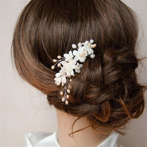 Handmade Bridal Headpieces - handmade bridal headpiece porcelain with pearls in