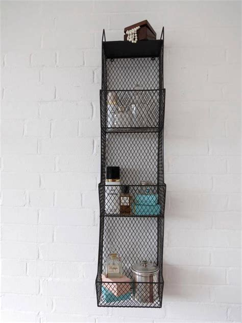 Metal Bathroom Shelf Rack bathroom metal wall wire rack storage shelf black industrial large wall shelving