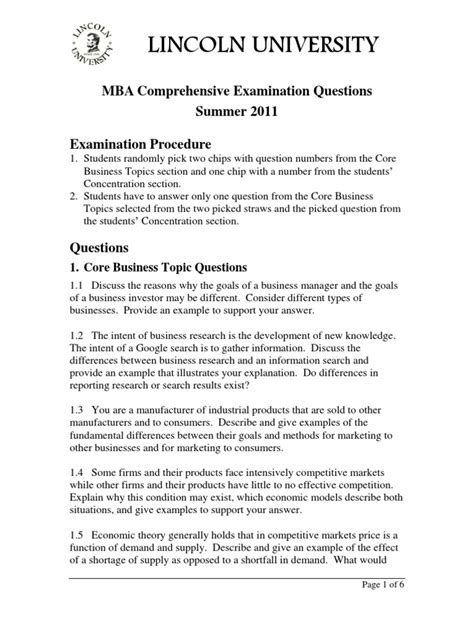 Leadership Mba Questions by Mba Comprehensive Questions Summer 2011 Strategic