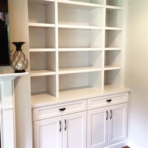 close up of built in shelves done by woods cabinets llc
