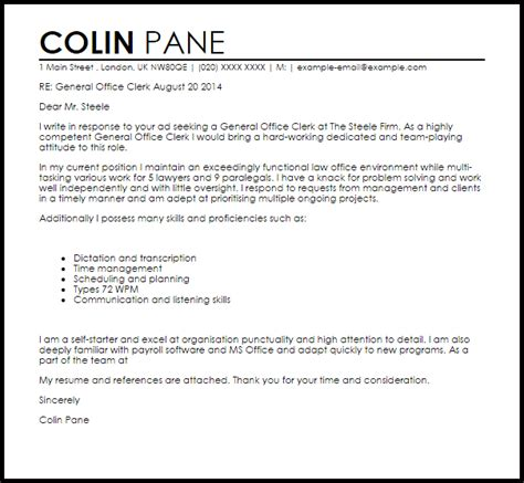 cover letter for office clerk general office clerk cover letter sle livecareer