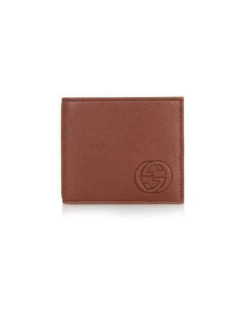 gucci leather wallet gucci stitched logo leather wallet in brown for lyst