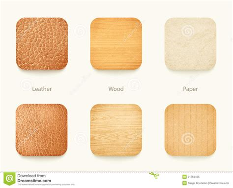 How To Make Paper Wood - set of paper wood and leather app icons royalty free stock