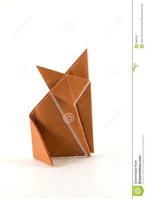 Single Paper Origami - single fox origami royalty free stock photography image