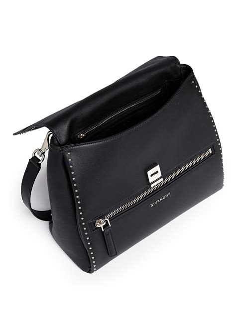 givenchy pandora small stud leather flap bag in black lyst