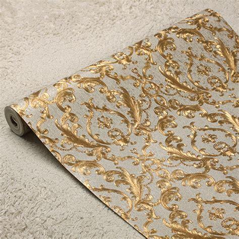 Wallpaper Dinding Luxury Classic Coklat Gold aliexpress buy classic european luxury gold foil wallpaper 3d luxury floral wall paper