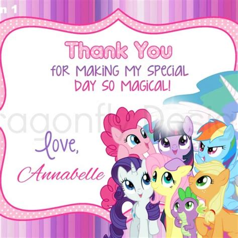 printable birthday card my little pony 8 best images of my little pony free printable thank you