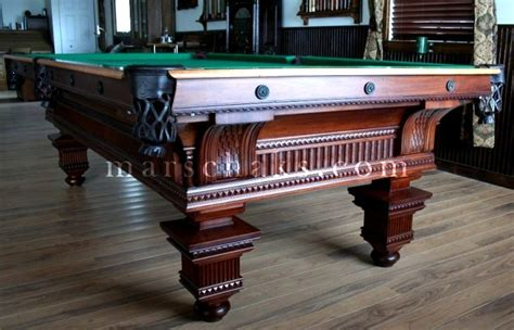 Antique Pool Table by 1894 Mahogany Marschak S
