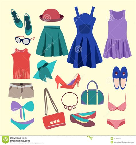 summer clothes fashion collection of summer clothes stock vector image