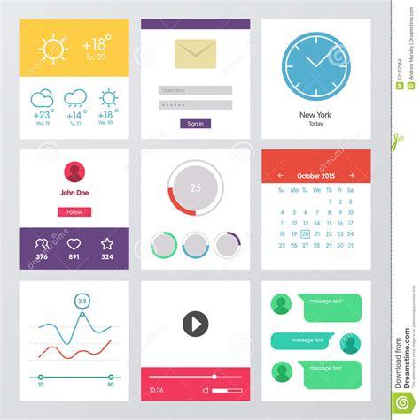 flat design app layout set of flat design ui and ux elements stock vector image