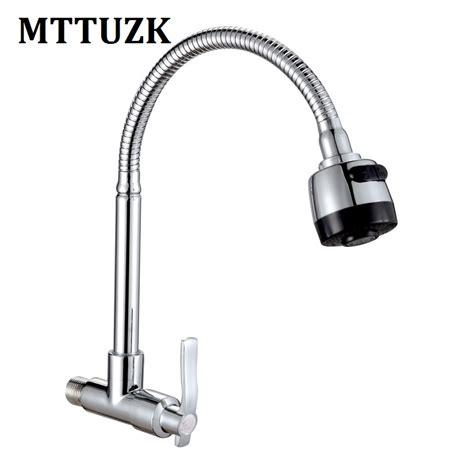 wall mounted kitchen sink faucet single cold water tap mttuzk brass wall mounted universal water kitchen single