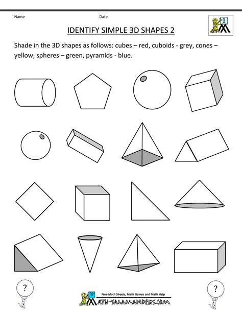 worksheets shapes grade 2 3d shapes worksheets