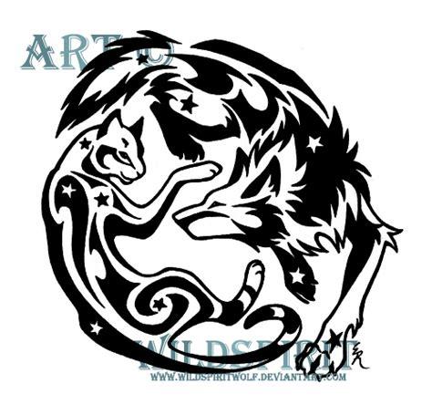 playful cat and wolf tattoo by wildspiritwolf on deviantart