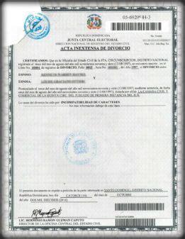 ejemplo acta de divorcio certificado de divorcio dominicano get my dominican