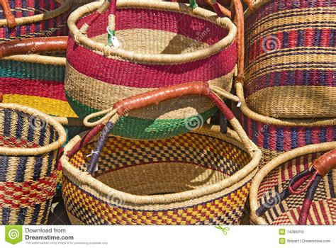 colorful baskets up of handmade colorful woven baskets stock photo