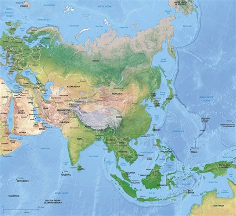 map of asia continent vector map asia continent shaded relief one stop map