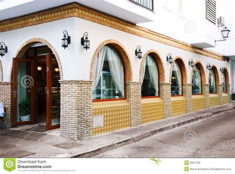Spanish Villa House Plans restaurant exterior stock photo image 2927040