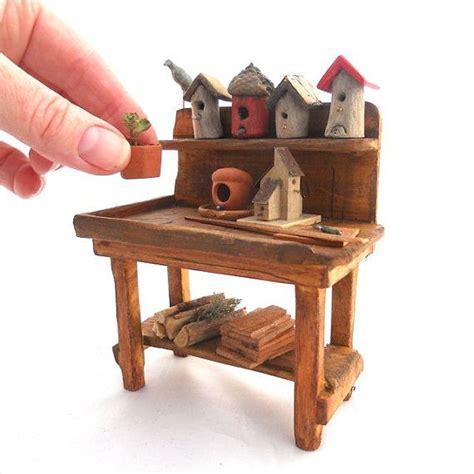 mini garden bench miniature garden bird lover s potting bench with handmade birdhouses and more ooak
