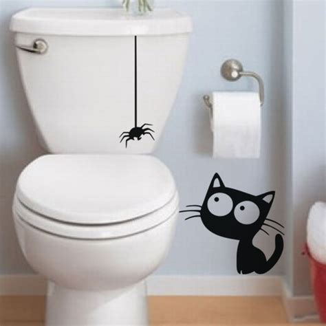 funny toilet decal black hanging spider  cat bathroom