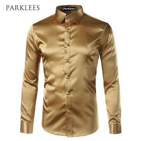 new gold silk satin shirt chemise homme 2017 fashion