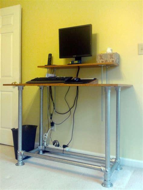 Standing Desk I Built For My Mother Birch Veneered Standing Pipe Desk